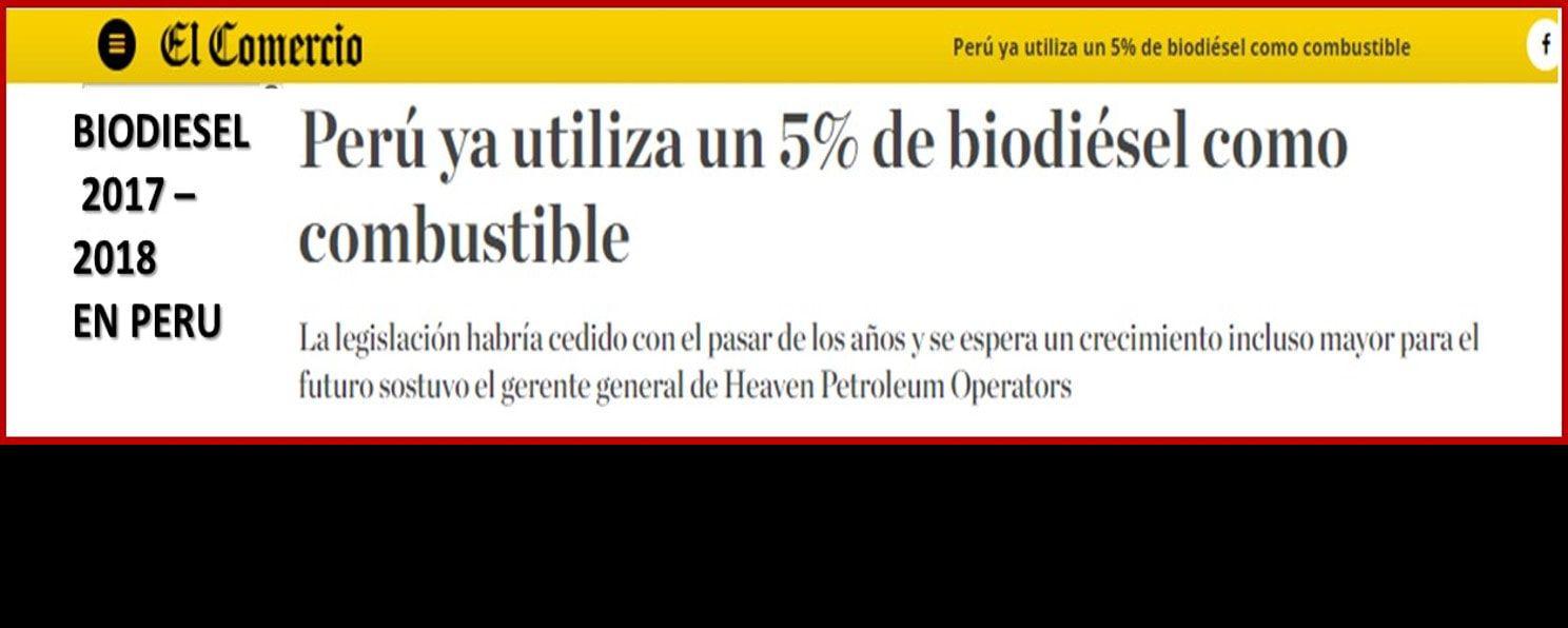Biodiesel en Peru 2017 2018 - Educación en Ingeniería Química